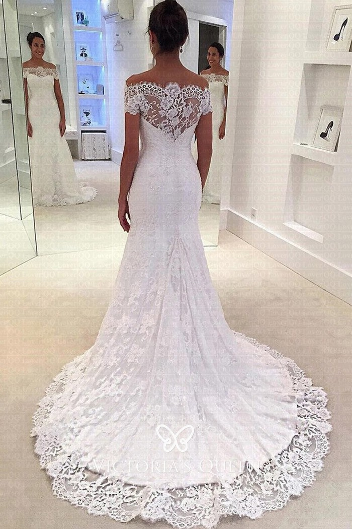 Scalloped Lace Overlay Off Shoulder Mermaid Bridal Gown Vq,Fall Second Marriage Wedding Dresses Color