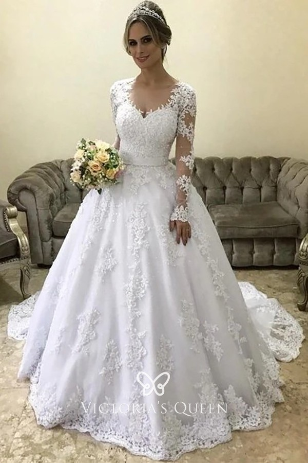 White Lace Sweetheart Long Sleeve Wedding Ball Gown Vq