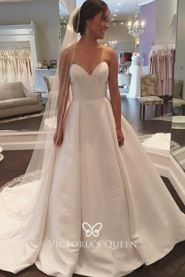 Strapless Sweetheart Simple Ivory Satin Wedding Gown
