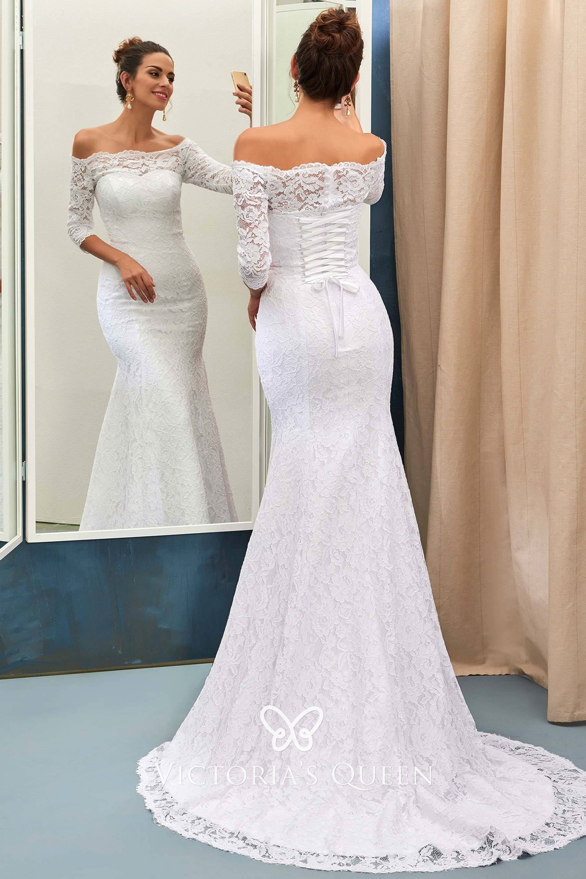 3 4 Sleeve Off Shoulder White Lace Mermaid Wedding Gown Vq,Outdoor Wedding Fall Wedding Guest Dresses 2020