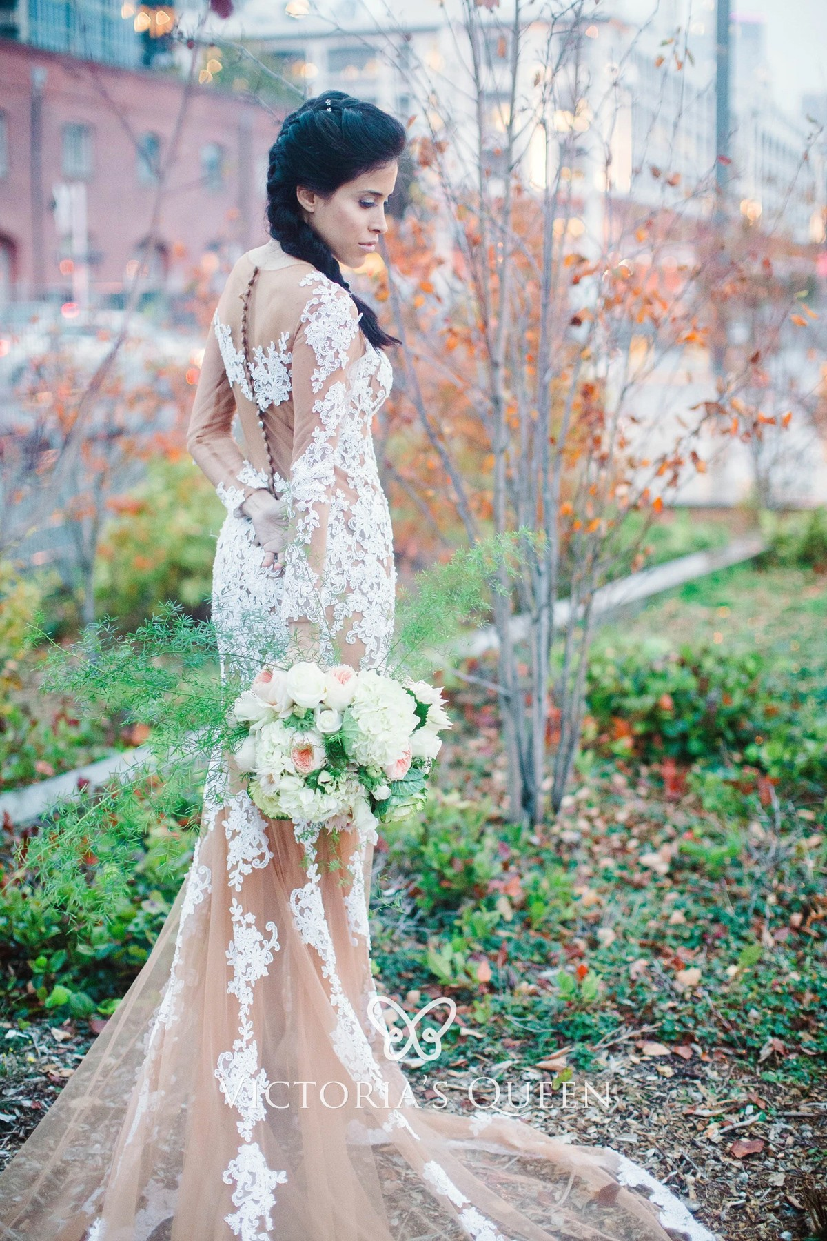 Sheer Nude Tulle with White Lace Mermaid Bridal Gown - VQ