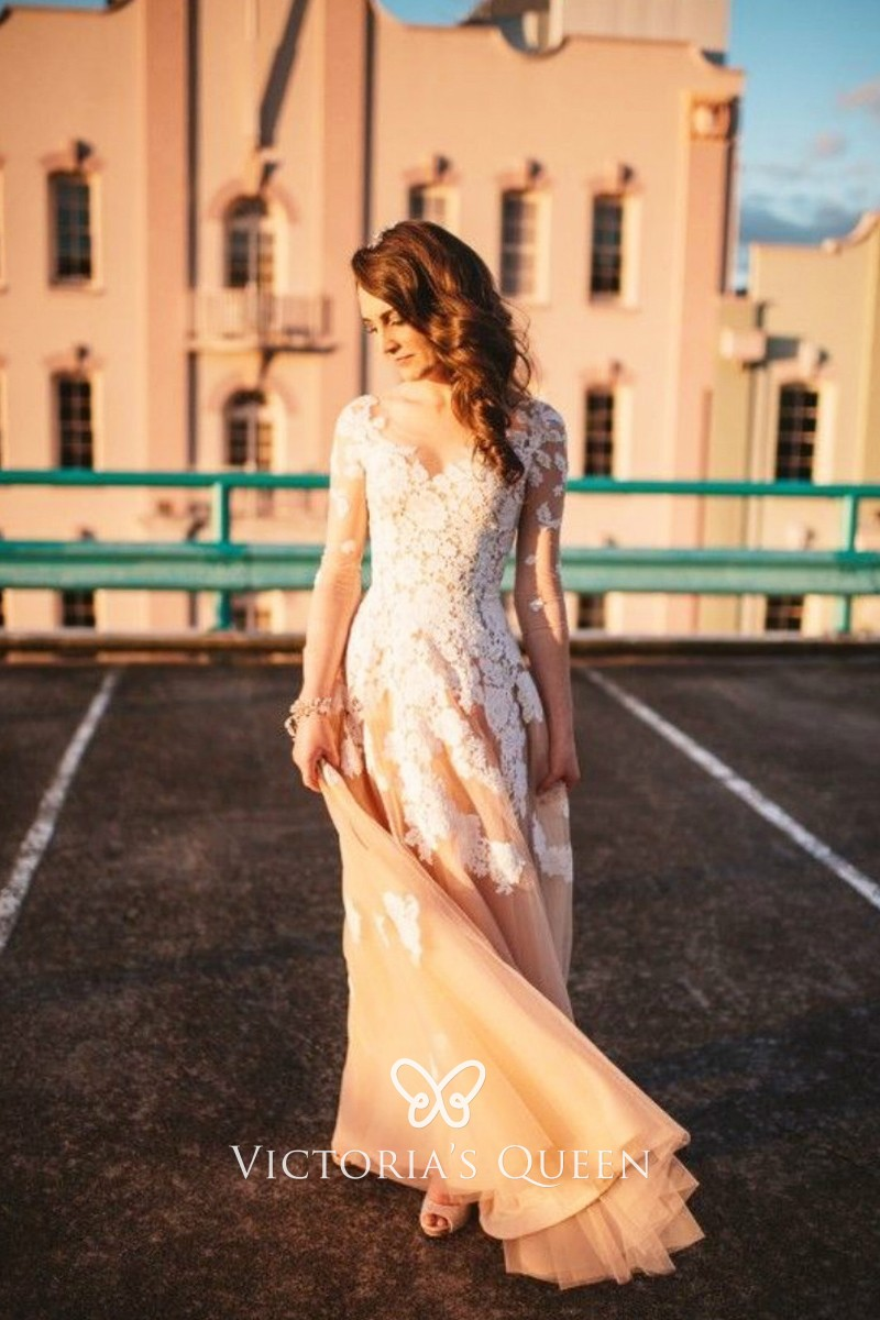 White Lace Champagne Nude Tulle Spring Wedding Dress - VQ