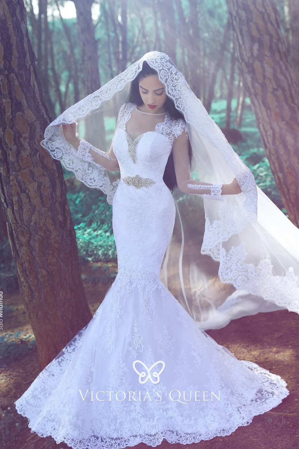 Beaded Sweetheart Long Sleeve Lace Mermaid Wedding Gown Vq,Wedding Dress Chicago Affordable