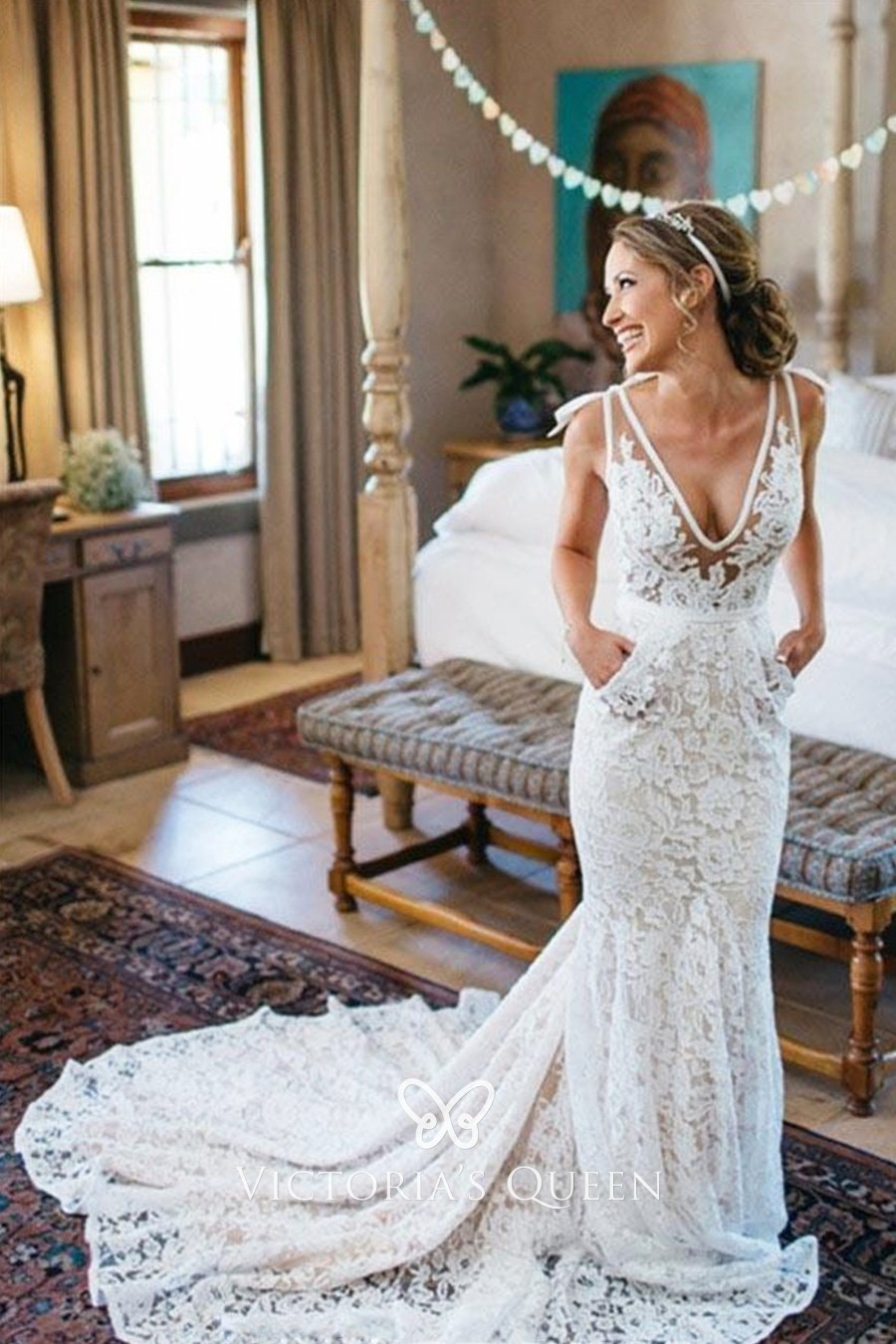 Sheer Nude Tulle White Lace Mermaid Sexy Wedding Dress - VQ