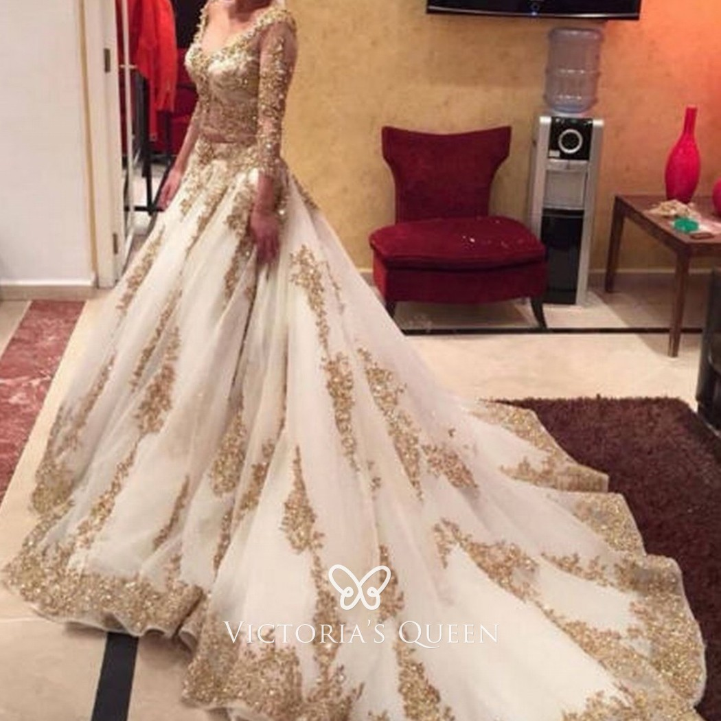 Beaded Gold Lace Appliqued Indian Style Wedding Gown Vq