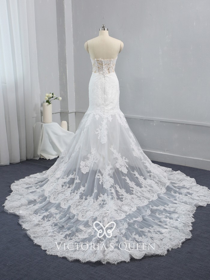 Strapless Nude Bodice Delicate Lace Mermaid Bridal Gown - VQ