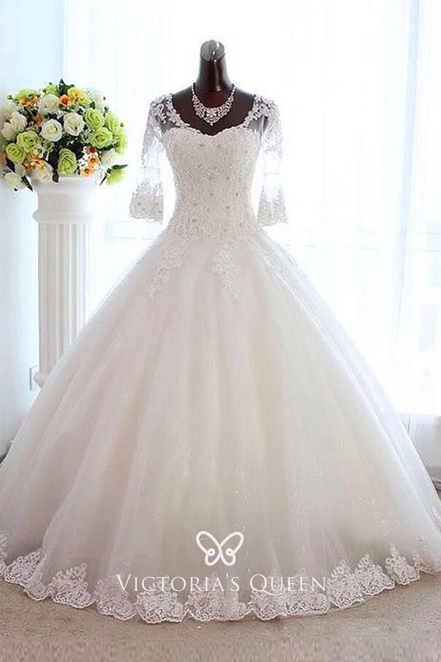 Half Sleeve Beaded Lace Tulle Ball Gown Wedding Dress Vq