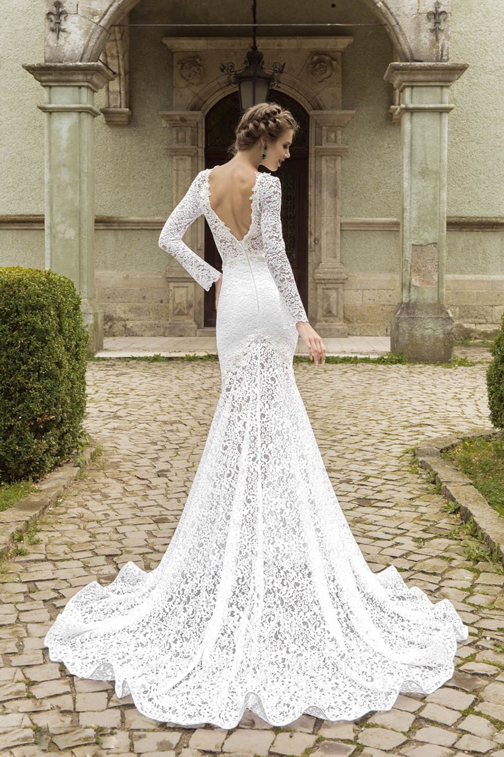 Sexy Long Sleeves White Nude Lace Tulle Mermaid Prom
