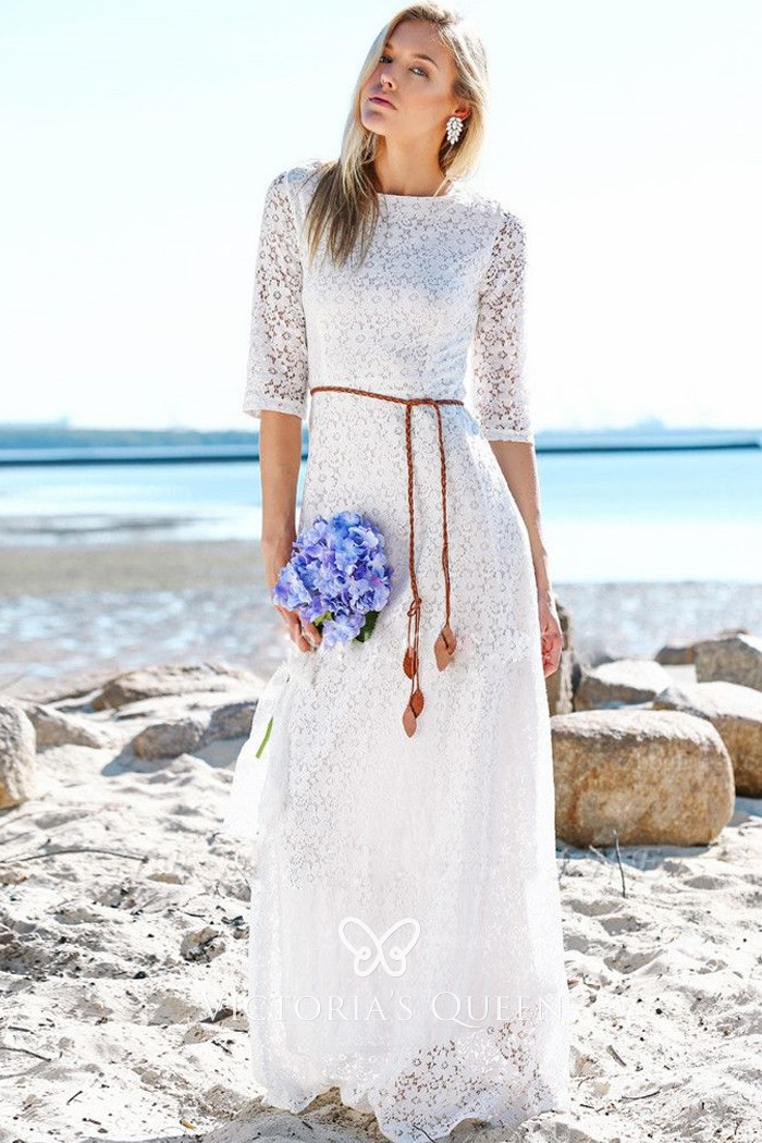Half Sleeve Simple Lace Spring Beach Wedding Dress Vq