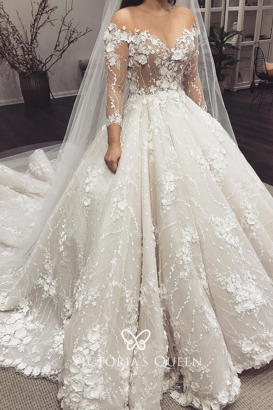 Sheer Ivory silk chiffon and appliqued floral lace