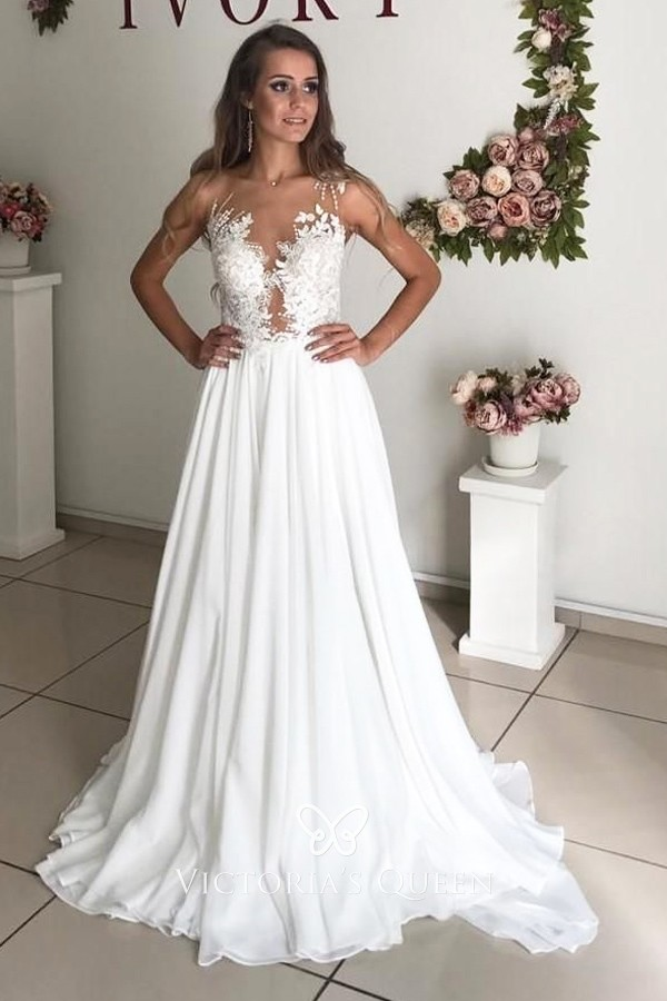One Shoulder Illusion Neck Lace & Chiffon Wedding Dress