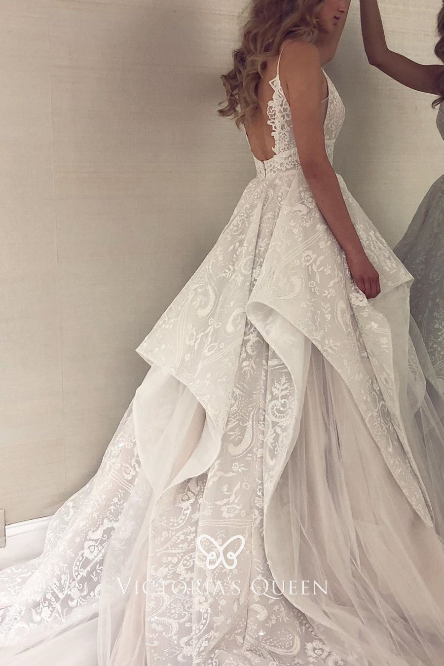 Lace & Tulle Spaghetti Straps Modern Wedding Gown