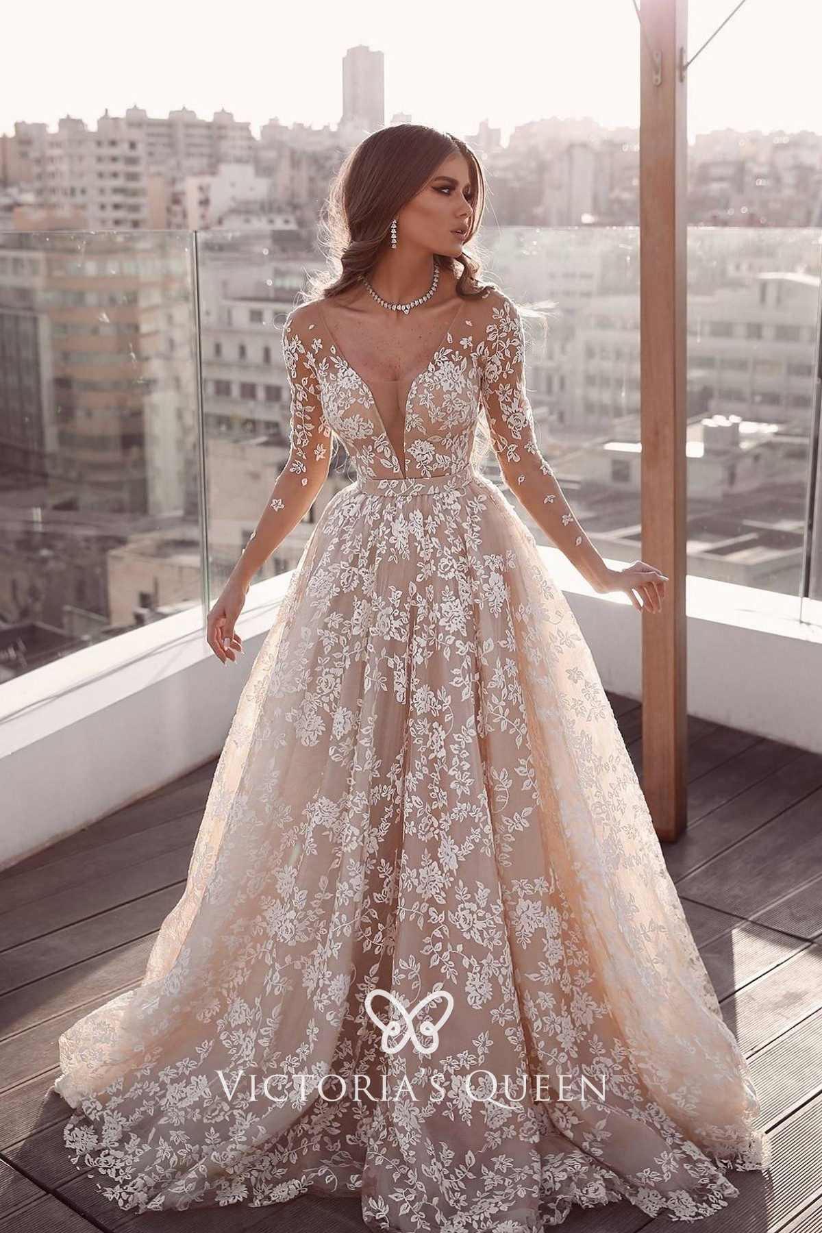 Nude Tulle Lace Long Sleeve Boho A Line Wedding Gown Vq