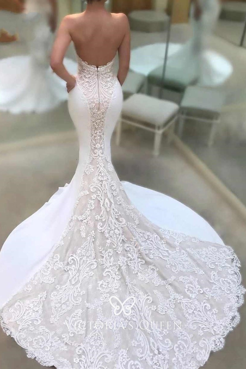 Strapless Lace And Satin Body Hugging Long Wedding Gown Vq