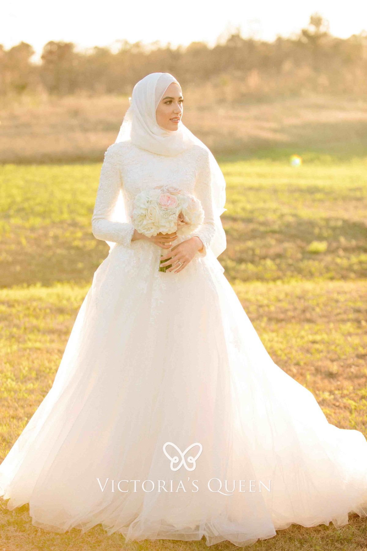 Long Sleeve White Lace Tulle Muslim Wedding Dress Vq