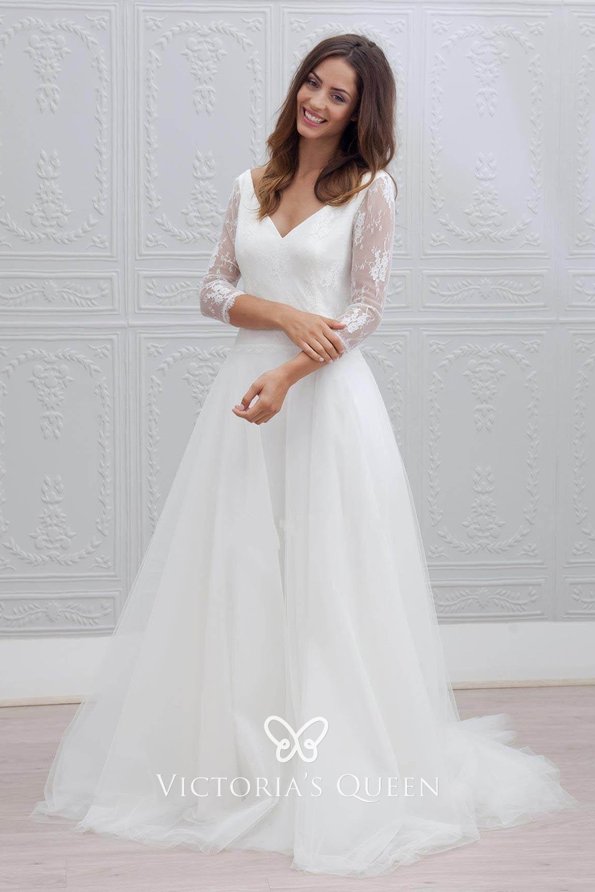 simple wedding dress with sleeves,