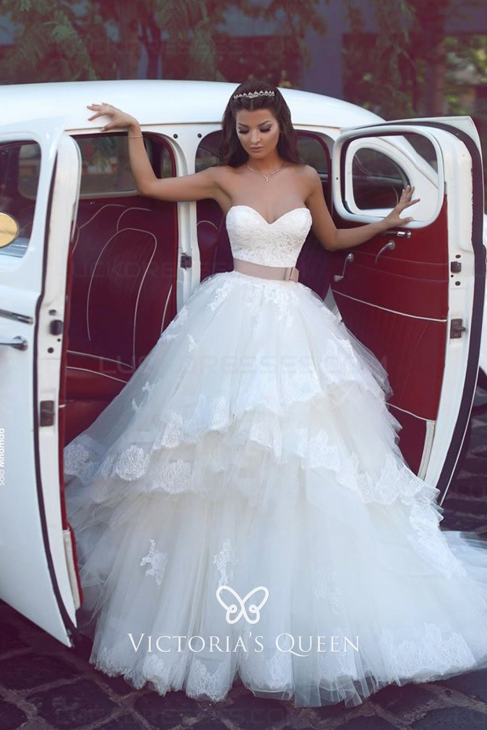 Strapless Lace Tulle Princess Ball Gown Wedding Dress Vq