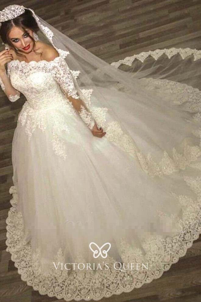 Scalloped Lace Tulle Princess Ball Gown Wedding Dress Vq