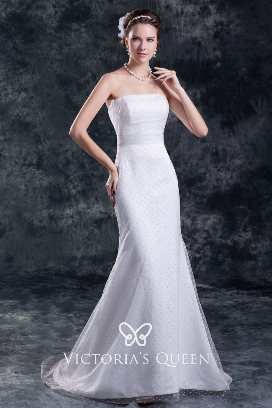 Polka Dot Tulle Overlay White Satin Strapless Mermaid Wedding Dress