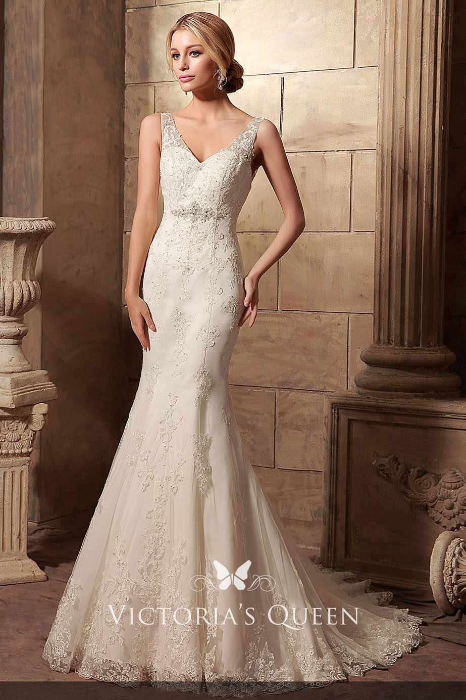 Classic Ivory Beaded Lace And Satin V Neckline Mermaid Chapel Train