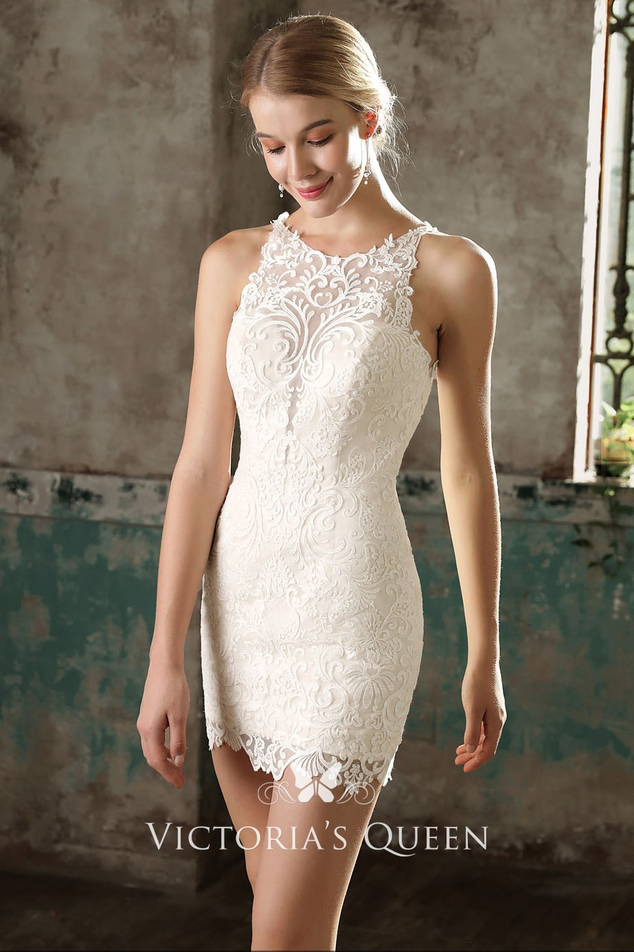 26526bca6555 Stylish Sleeveless Ivory Lace and Chiffon Overskirt Short Wedding ...
