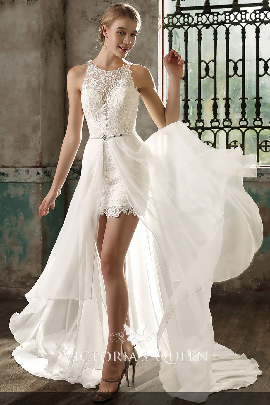 Ivory Lace And Chiffon Overskirt Short Wedding Dress