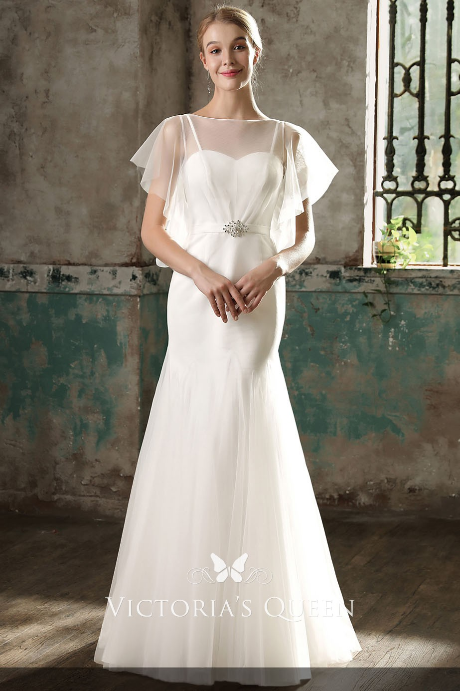 flutter sleeve illusion neckline mermaid wedding dress