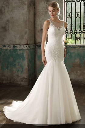 101fe868c085 trendy dropped waist mermaid ivory illusion lace and tulle wedding dress