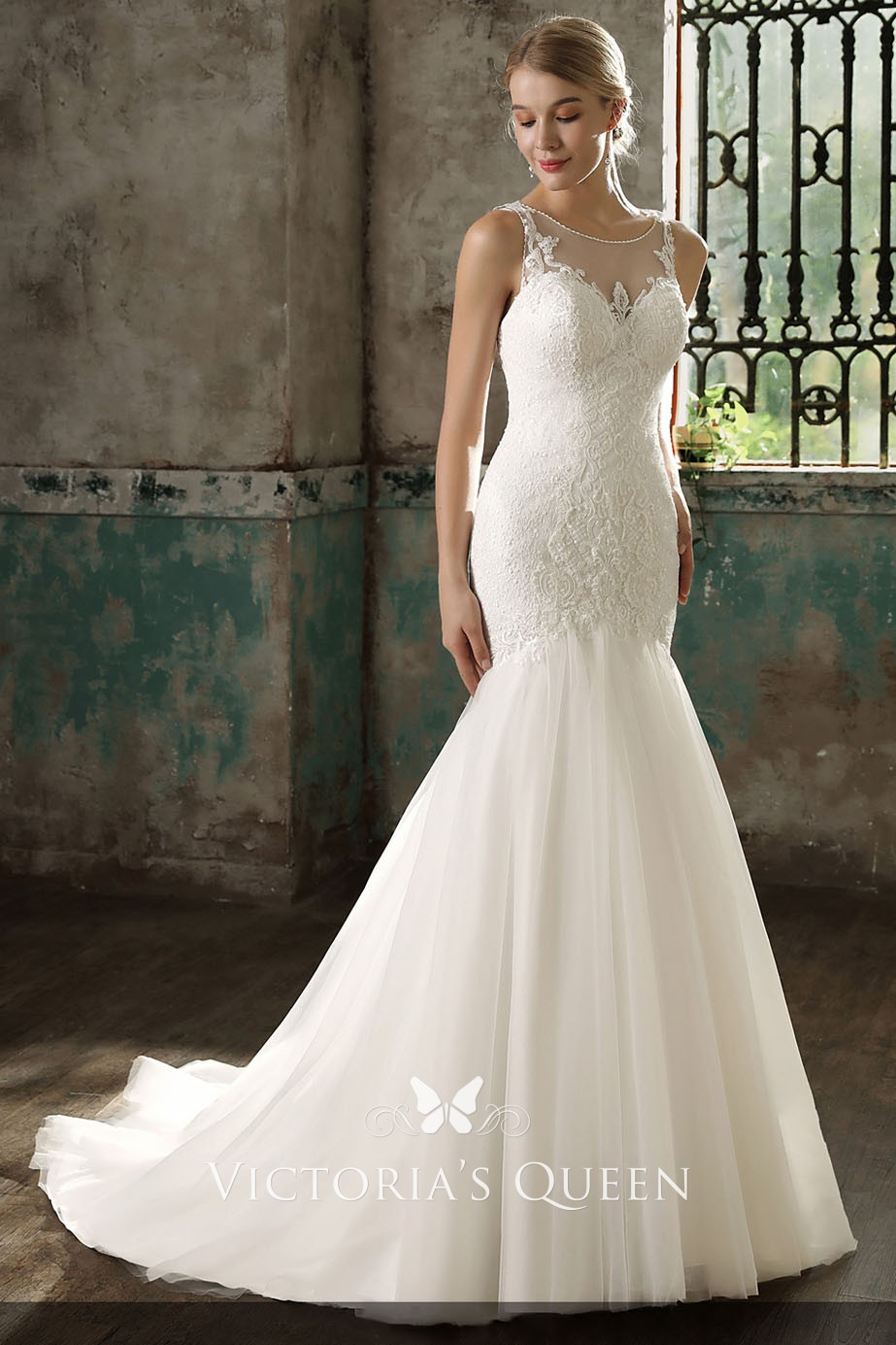 trendy dropped waist mermaid ivory illusion lace and tulle wedding dress ad18071f3d54