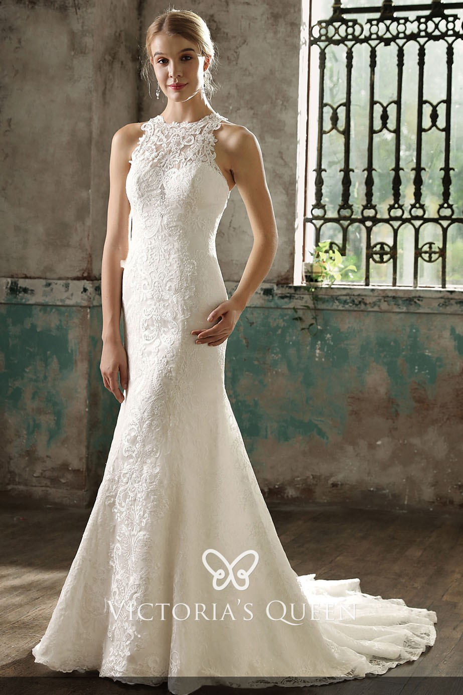 Unique Ivory Lace Halter Mermaid Long Wedding Dress