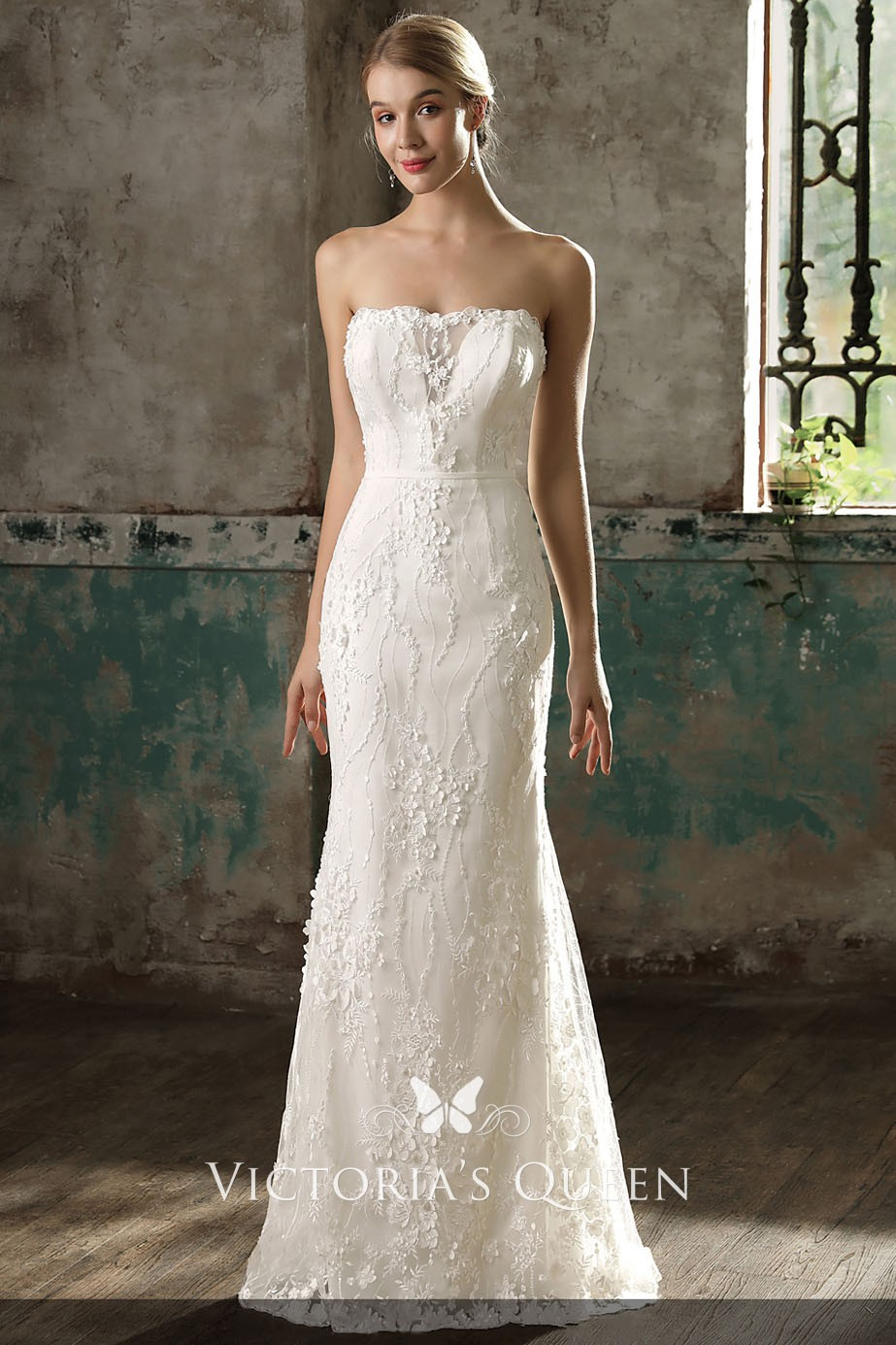 Strapless Lace Appliqued Fit And Flare Wedding Dress