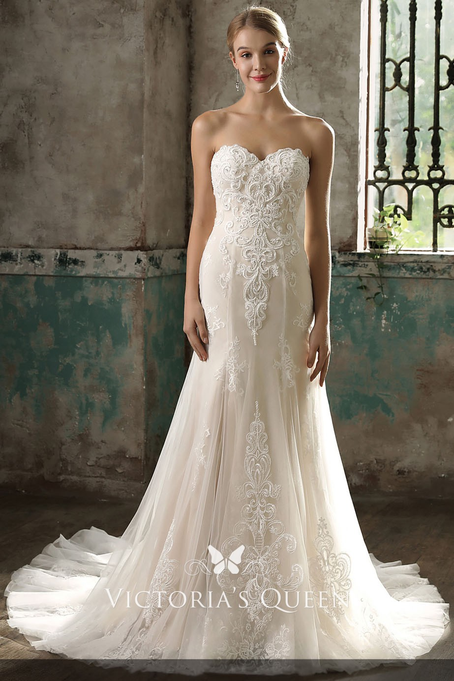 Champagne Lace Tulle Strapless Sweetheart Wedding Dress Vq
