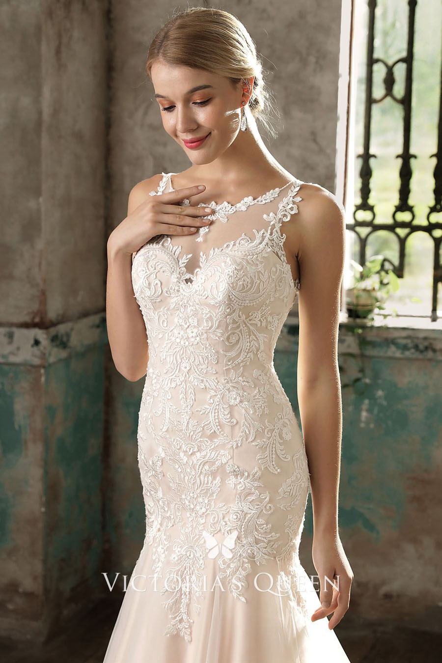 82010933c6d42 blush lace satin and tulle illusion mermaid dropped waist wedding dress