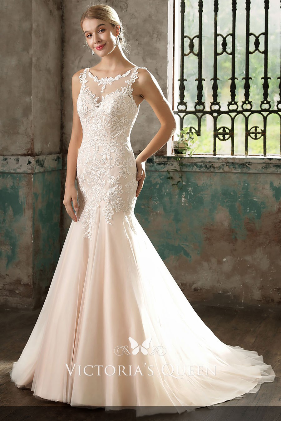 Classic Blush Lace Satin And Tulle Illusion Mermaid Dropped Waist Wedding Dress: Dropped Waist Mermaid Wedding Dresses At Reisefeber.org