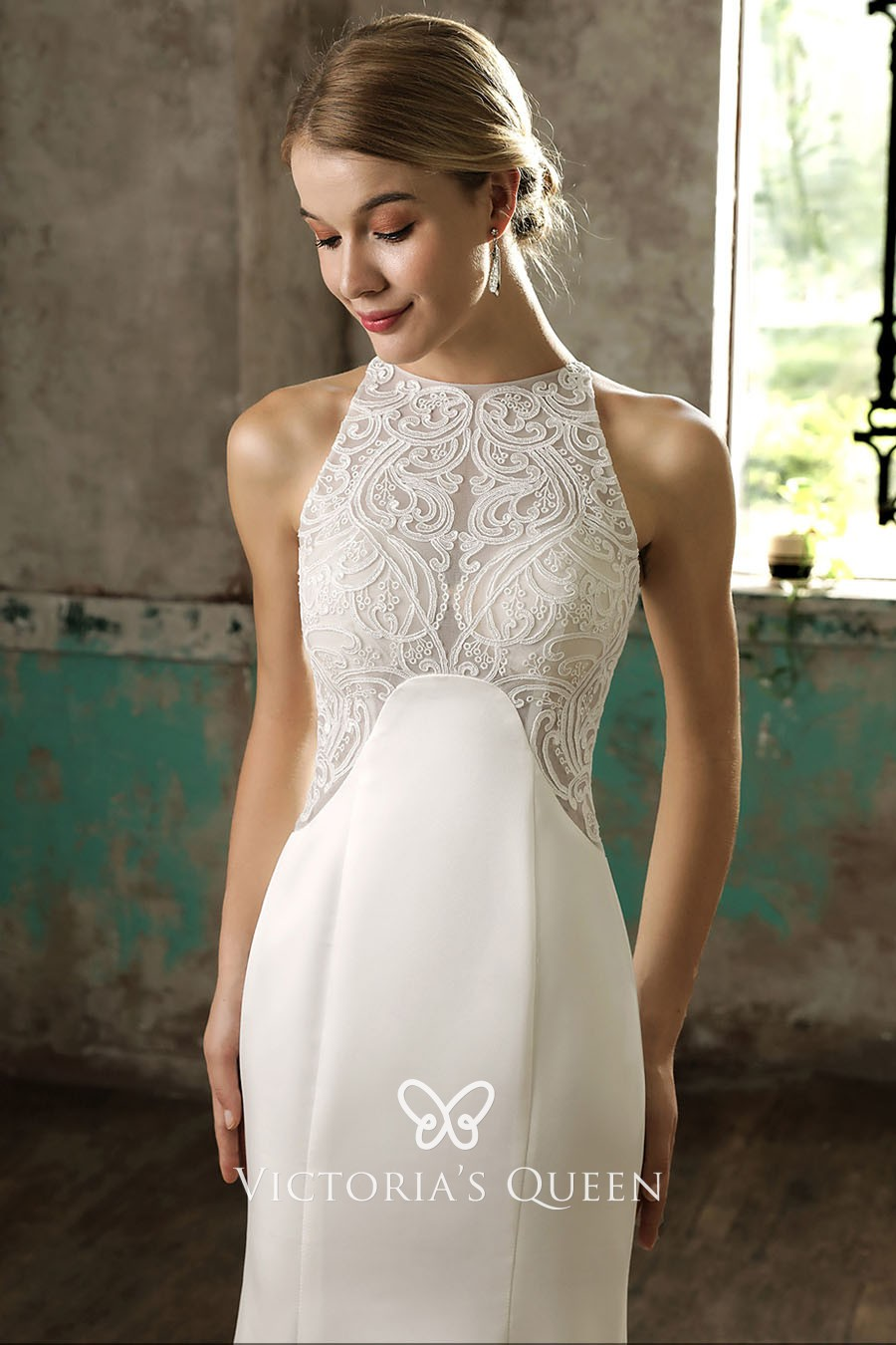 Sleeveless Halter Neckline Ivory Lace and Satin Stylish Mermaid ... 8e4812847666