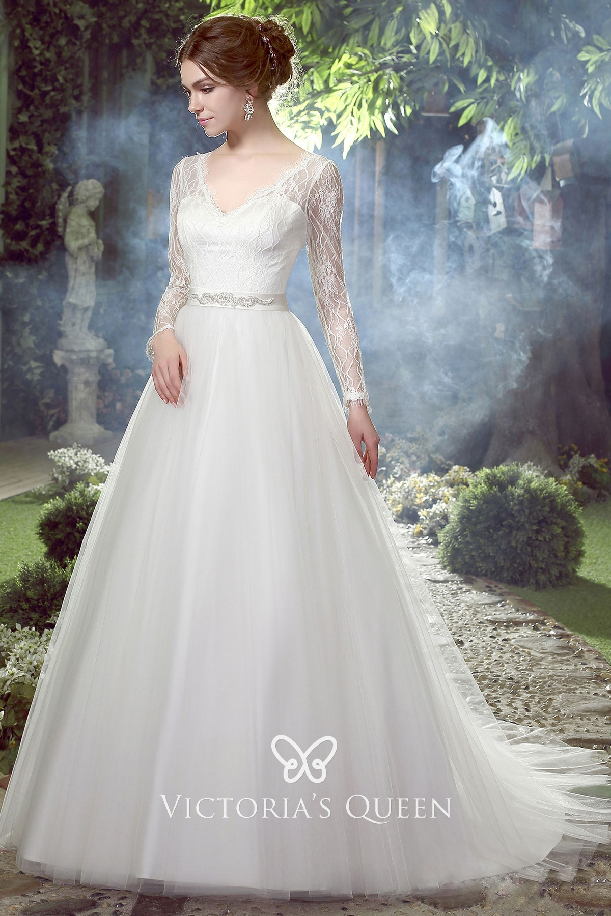 Illusion Long Sleeve Sweetheart Ball Gown Wedding Dress Vq,Wedding Dress In Chicago