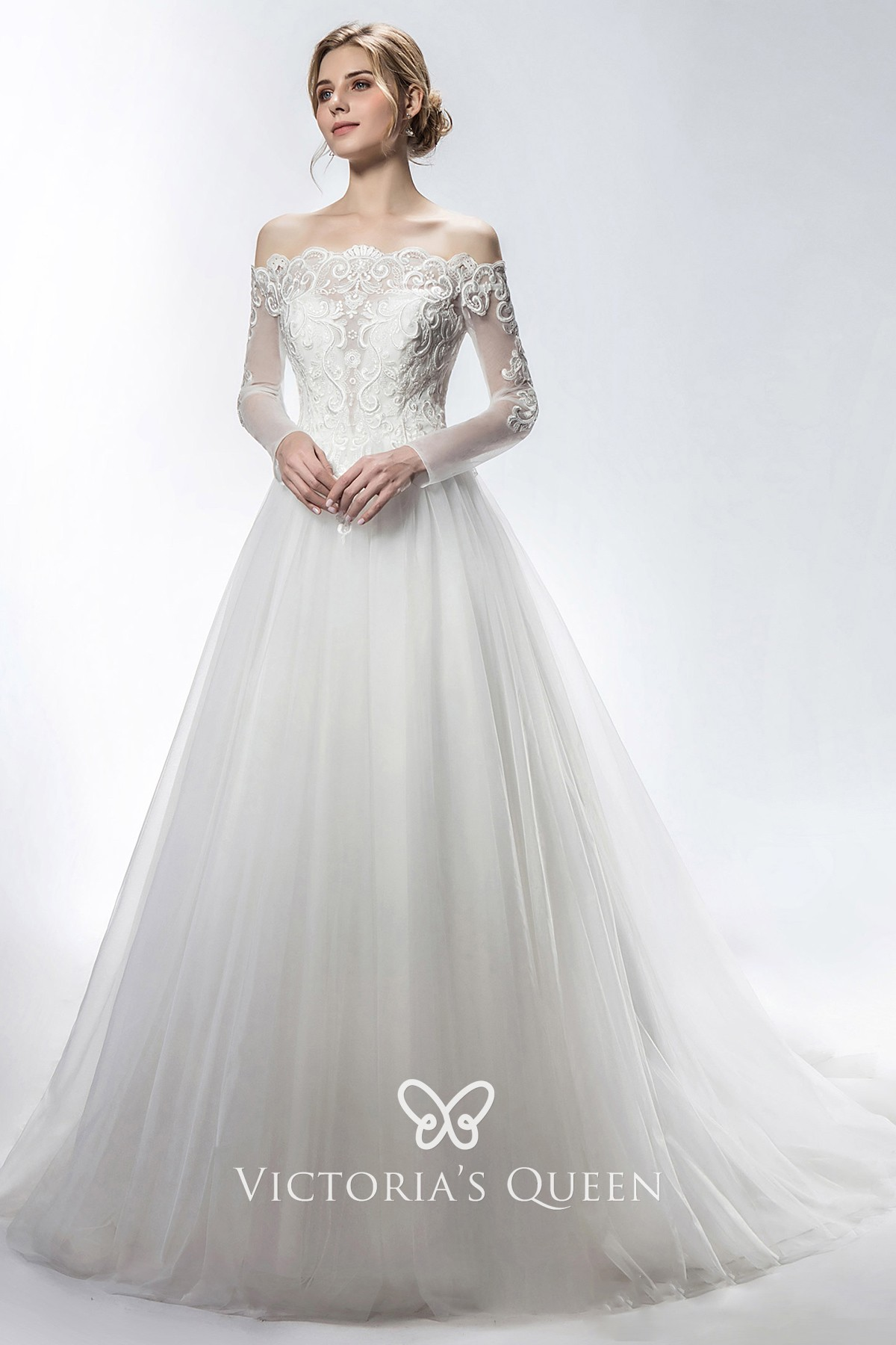 Scalloped Illusion Long Sleeve Bridal Ball Gown Vq