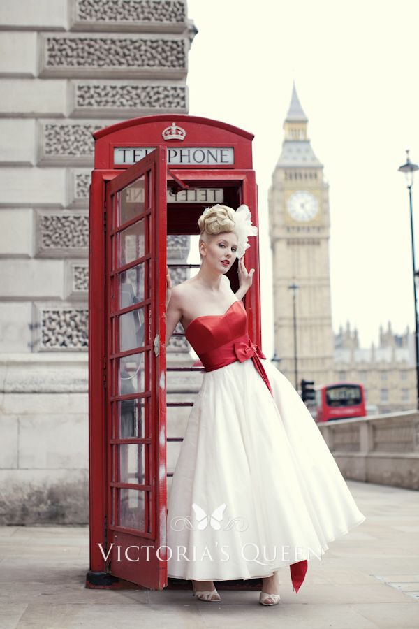 0f076ada8c 1970s inspired vintage strapless red and white tea length wedding dress