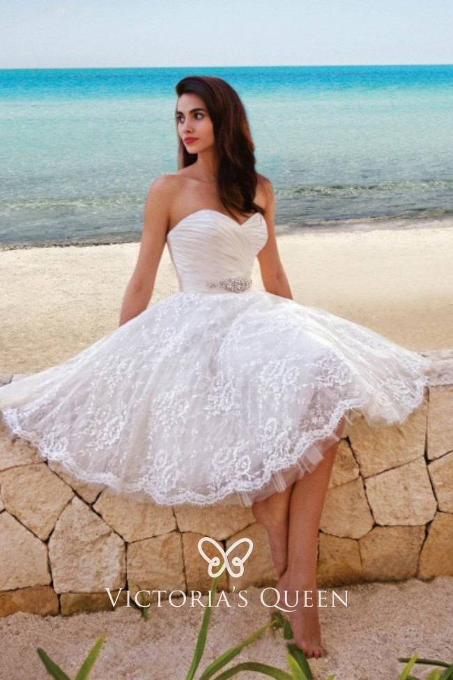 Strapless Sweetheart Satin And Lace Short Summer Beach Wedding Dress
