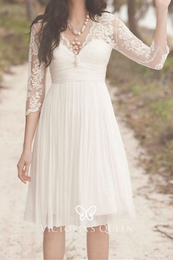Ivory Lace And Tulle Scalloped V Neck Short Dress