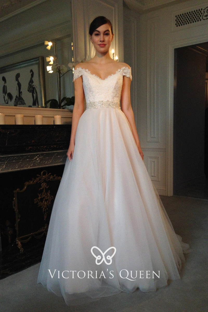 princess ivory lace and tulle cap sleeve wedding gown