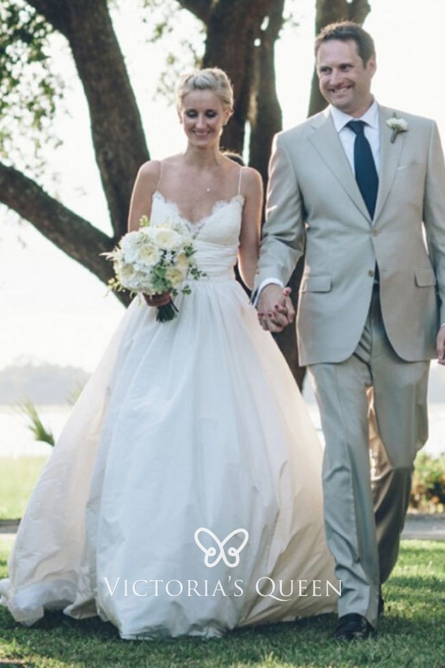 Ivory Lace And Taffeta Empire Outdoor Wedding Ball Gown