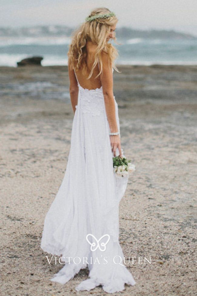 16517e0bbac6a white lace and tulle thigh high slit summer beach wedding dress. Lightweight  ...