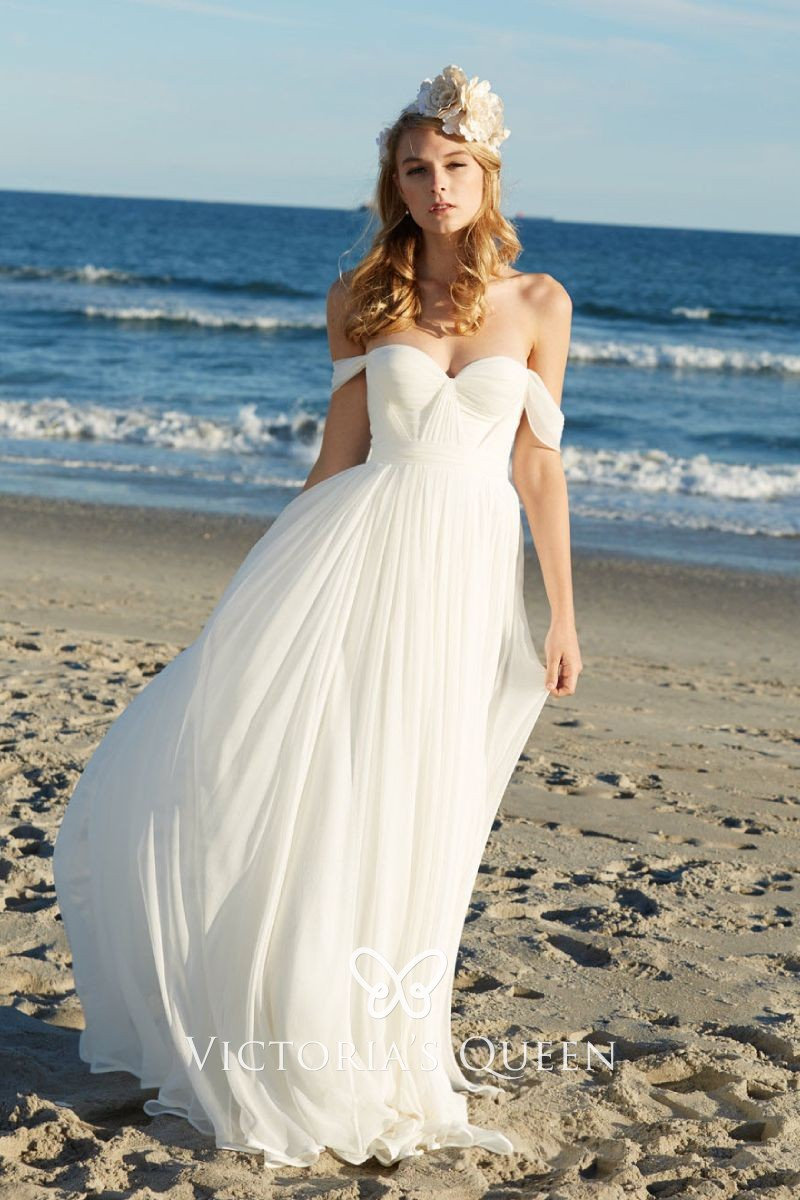 Ivory Soft Tulle Off The Shoulder Beach Wedding Dress