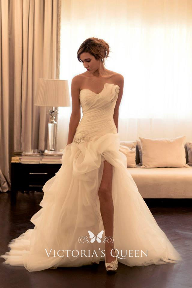 5a666846 Asymmetrical ruffled slit strapless dropped waist fashion wedding dress