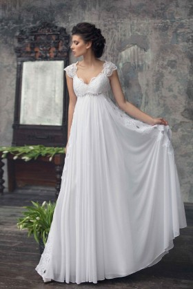 c0345ca8196f Vintage off white A line beaded lace and chiffon empire waist wedding dress