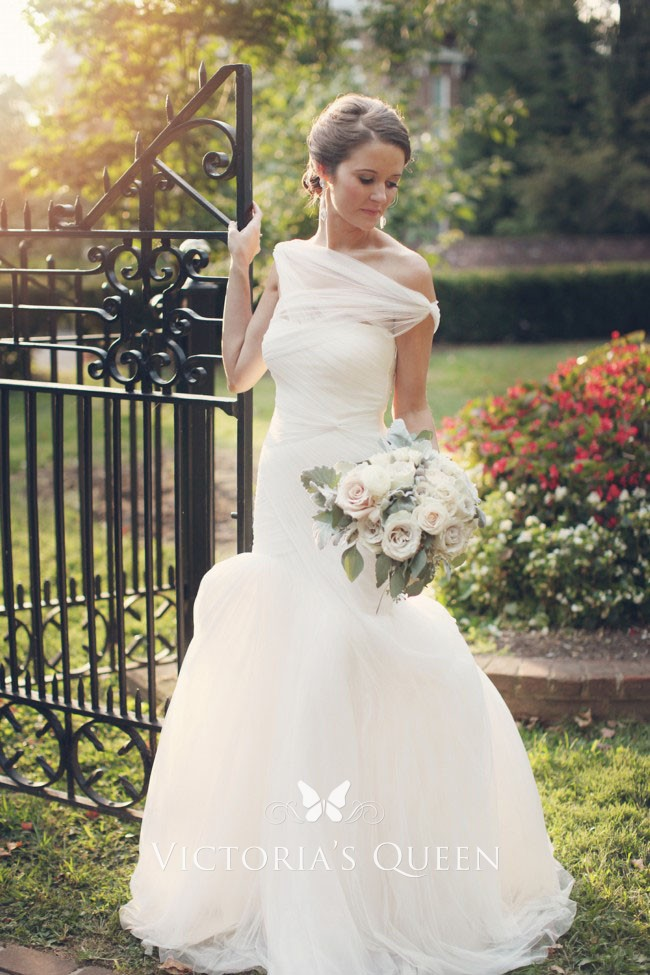 5cee0c57aec1 asymmetrical ivory pleated tulle off the shoulder drop waist charming wedding  dress