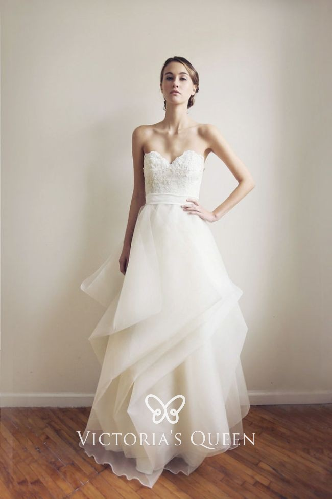 Strapless Ivory Lace And Organza Layered Wedding Gown