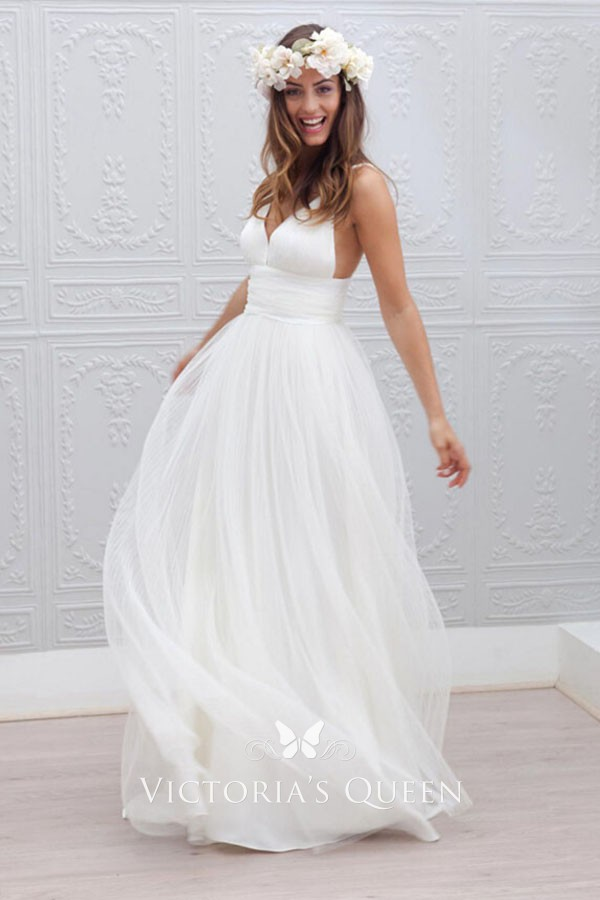 1ab0265cc52a Ivory tulle A line deep V neck spaghetti strap empire waist informal wedding  dress