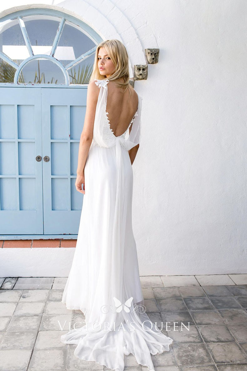 Open Back White Lace And Chiffon Boho Wedding Dress Vq